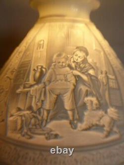 Lampe A Petrole Cristal Overlay Vierzon Ou St Louis Abat Jour Lithophanie XIX