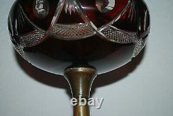 Lampe à pétrole cristal Baccarat St Louis pied Art Nouveau