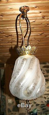Lampe lustre verre gravé signé st saint Louis Napoléon french glass cristal gaz
