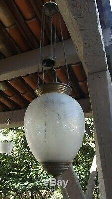 Lanterne suspension photophore En Cristal verre Baccarat St LOUIS art nouveau