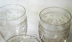 Lot 5 verres à vin SAINT-LOUIS XIXème Cristal Gravé Fleuri Aster