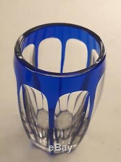 Lot 6 Verres à liqueur cristal bleu pans coupés Baccarat Saint Louis