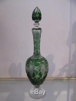 Magnifique broc cristal overlay vert saint louis 1930 (crystal pitcher)