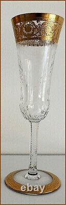 Neuve Flute A Champagne Signee En Cristal De Saint Louis Modele Thistle Gold
