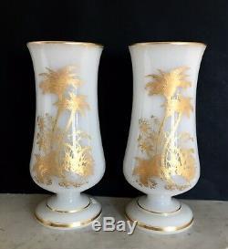 Paire Vases Opaline savonneuse CHARLES X Grande qualité St Louis XIX Cristal