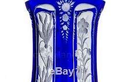 Paire de vases bleus en Saint-Louis XIXè. Pair of blue vases by Saint-Louis 19th