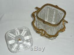Pot biscuit seau BACCARAT SAINT LOUIS bonbonnière cristal et doré