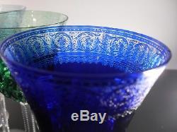 Rare 6 Grand Verres A Vin Eau Cristal Couleur Grave St Louis Thistle 21cm