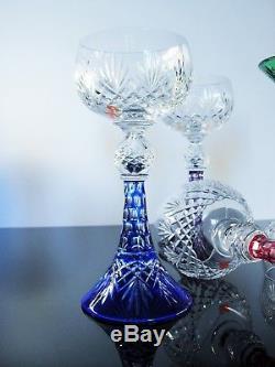 Rare 6 Verres Vin Liqueur Réversible Cristal Couleur Val St Lambert St Louis