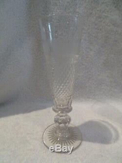 Rare 8 flutes champagne cristal Saint Louis Le Creusot crystal champagne flutes