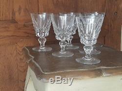 Rare Serie De 6 Grand Verres A Vin En Cristal De Saint Louis Mod. Guernesey
