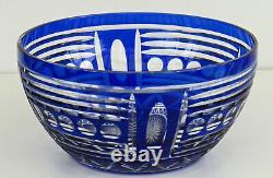 SAINT-LOUIS Coupe à fruits Art Déco en Cristal Taillé Overlay Bleu ca 1930