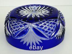 SAINT-LOUIS Coupe en Cristal Taillé Doublé Bleu Cobalt