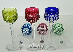 SAINT-LOUIS Modèle Traminer 6 Verres à Liqueur Cristal Coloré Signés