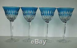 SAINT-LOUIS Quatre Verres à Vin du Rhin Roemer Cristal Bleu Turquoise Signés