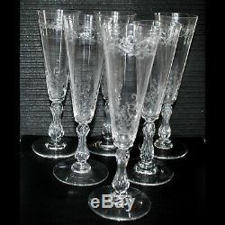 SAINT-LOUIS Rare série de 6 flûtes à champagne Cristal soufflé gravé MICADO 1930