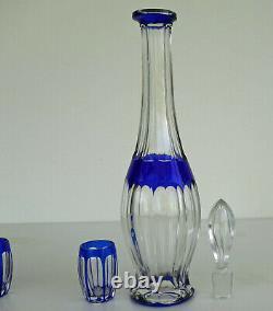 SAINT LOUIS Service à Liqueur en Cristal Taillé Doublé Bleu ca 1930