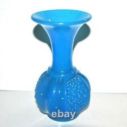 SAINT-LOUIS Vase Grenade Perles en opaline de cristal bleu 1845-1865 NapoleonIII