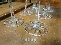 SERIE DE 6 ROEMERS(vin du Rhin) EN CRISTAL SAINT LOUIS MODELE TARN couleurs