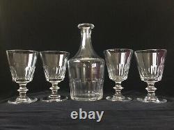Saint Louis 4 Verres A Eau 1 Carafe Cristal Modèle Caton Taillé Cotes Plates XIX