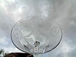 Saint Louis 6 Tall Sherbet Glasses Coupe A Champagne Cristal Gravé Empire 19éme