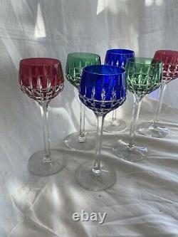 Saint Louis 6 Verre A Vin En Cristal Taillé De Couleur Bleu Modèle Manhattan
