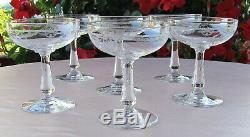 Saint-Louis 6 coupes à Champagne modèle Sapho cristal gravé décor floral paniers