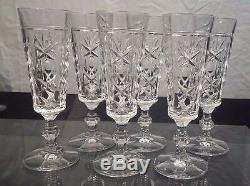 Saint Louis 6 flûtes à champagne en cristal taillé à côte, pied à 6 pans