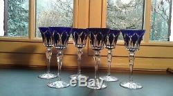 Saint Louis 6 verres en cristal de couleur bleu modèle Camargue en parfait état