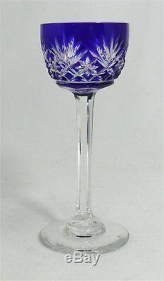 Saint Louis, 8 beaux verres à liqueur bleus, modèle Massenet, parfait état
