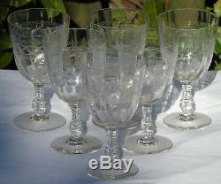 Saint Louis Baccarat Service 6 verres à eau cristal gravé à côtes vénitiennes