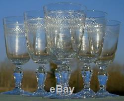 Saint Louis Baccarat Service de 6 verres à eau en cristal gravé. Fin XIXe s