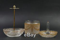Saint Louis Baccarat cristal toilette flacons baguier rasoir French crystal XIXe