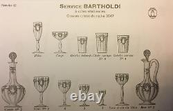 Saint Louis Bartholdi 6 Verres A Eau Vin Cristal Gravé Roi Noeud Louis XV XVI