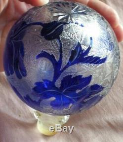 Saint-Louis Boule d' escalier art nouveau cristal dégagé à l'acide fleur Pavot