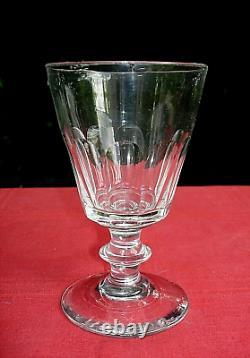 Saint Louis Caton 4 Weingläser Verre A Eau Vin Cristal Taillé Cotes Plates 19ème