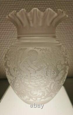 Saint-Louis Grande TULIPE XIXè Décor Chérubin Lampe à Huile