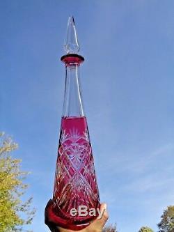 Saint Louis Massenet Carafe Roemer Cristal Doublé De Couleur Coloré Rouge Eg