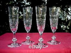 Saint Louis Messine 4 Tall Fluted Glasses Flute A Champagne Cristal Taillé Sektg