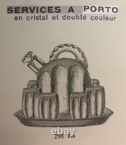 Saint Louis Sake Set Service A Liqueur Cristal Taillé De Couleur Coloré Art Deco