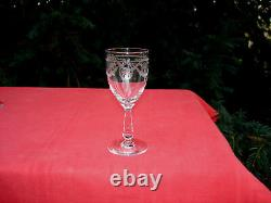 Saint Louis Sapho Panier Fleuri 6 Wine Glasses Weing Verre A Vin Cristal Gravé C