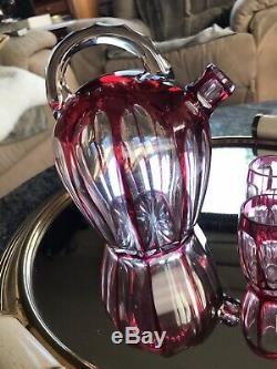Saint-Louis Service à Liqueur Carafe + 4 verres Cristal Overlay 1930