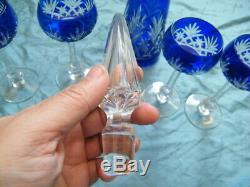 Saint Louis-Service de 4 verres à vin en cristal doublé+Carafe service Massenet