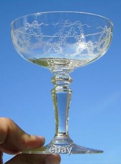 Saint Louis Service de 6 coupes à champagne en cristal gravé, modèle Stella