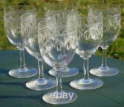 Saint Louis Service de 6 verres à eau en cristal gravé. XIXe s