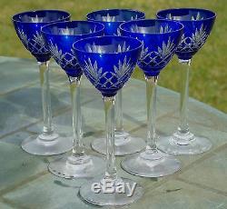 Saint Louis Service de 6 verres à liqueur en cristal doublé