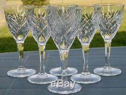 Saint Louis Service de 6 verres à vin blanc en cristal taillé modèle Chantilly