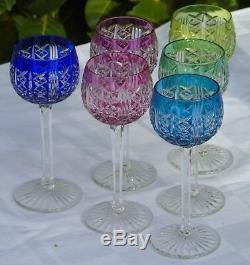 Saint Louis Service de 6 verres à vin cuit en cristal doublé taillé. H 15,2 cm