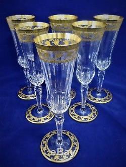 Saint Louis, set 6 flûtes en cristal, Rare modèle Callot. No thistle