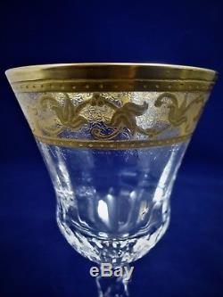 Saint Louis, set 6 verres à vin en cristal, Rare modèle Callot. No thistle